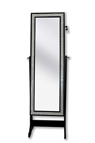 Iconic Home Glitzy Contemporary Elegant Black Crystal-Border Cheval Mirror Jewelry Armoire ()