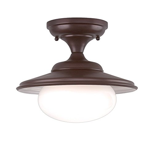 Independence 1-Light Semi Flush - Old Bronze Finish with Opal Glossy Glass Shade - Hudson Valley Ceiling Fan