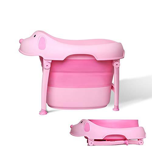 Zhanghaidong Baño Plegable Barril Rosa Bebé Antideslizante Mat Boy Bebé Bañera Plegable Recién Nacidos Se Puede Sentar Y...