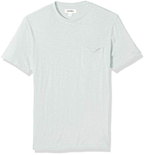 Goodthreads Men's Lightweight Slub Crewneck Pocket T-Shirt, Light Aqua, X-Small