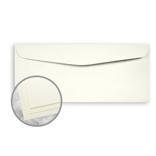 Strathmore Writing Natural White Envelopes - No. 10 Commercial (4 1/8 x 9 1/2) 24 lb Writing Laid 25% Cotton Watermarked 2500 per Carton by Mohawk Fine Papers Strathmore Writing