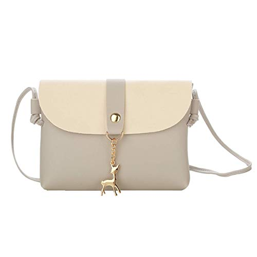 - Small Crossbody Purse for Women With Pendant,PU Leather Crossbody Bag With Strap Cell Phone Bag for Girl,Grey