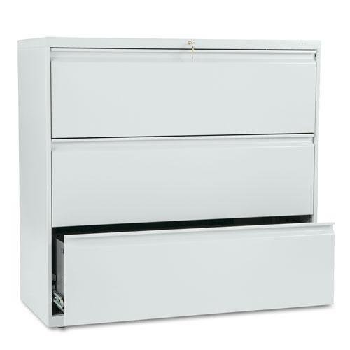 HON 893LQ 800 Series Three-Drawer Lateral File, 42w x 19-1/4d x 40-7/8h, Light Gray (Series 800 File Radius Full)