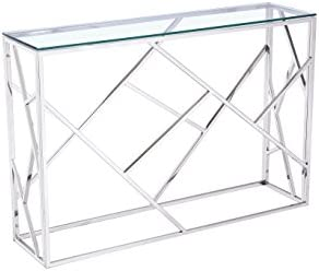 Uptown Club Calypso Collection Modern Designed 30.7 Tall Glass Entryway Console Table