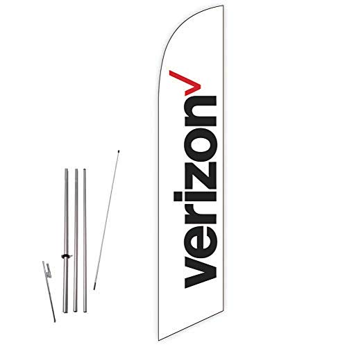 Cobb Promo Verizon (White) Feather Flag with Complete 15ft Pole kit and Ground Spike