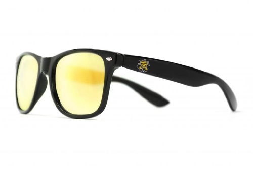 NCAA Wichita State Shockers WICH-2 Black Frame, Gold Lens Sunglasses, One Size, - Wichita Sunglasses
