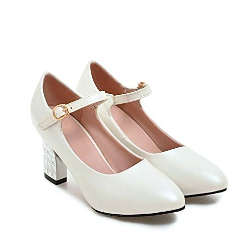 Heel Polyurethane Heels Shoes Chunky ZHZNVX PU Summer White Pump Women's Pink Black White Basic qRxtwxz0