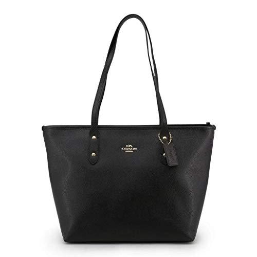 Coach Women's Crossgrain Leather City Zip Tote No Size (Im/Black)