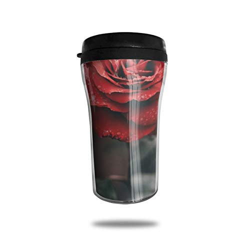(FTRGRAFE Rose Bud Drops Stem Travel Coffee Mug 3D Printed Portable Vacuum Cup,Insulated Tea Cup Water Bottle Tumblers for Drinking with Lid 8.54 Oz (250 Ml))