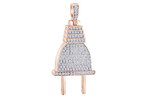 (1 Cttw Round Shape White Natural Diamond Iced Out Hip Hop Jewelry Plug Charm Pendant In 10k Solid Rose Gold)