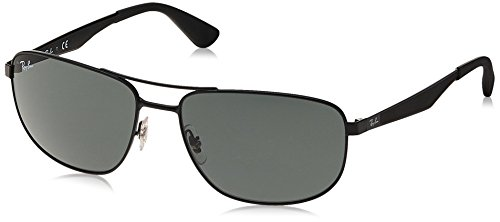 Ray-Ban Men's RB3528 Square Metal Sunglasses, Matte Black/Green, 61 mm (Rb3528)