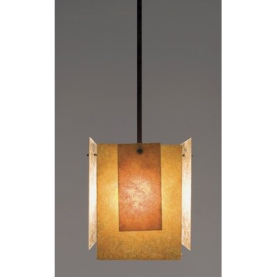 (Spider Mica Single Incandescent Pendant Lamp (32 in. OA Drop in Bronze))