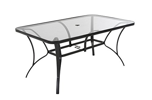 COSCO Outdoor Living Paloma Steel Patio Dining Table, Dark Gray Steel Frame, Tempered Glass Table Top by Cosco