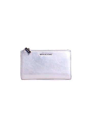 Michael Kors Jet Set Double Zip Metallic Leather Wristlet Wallet in Silver