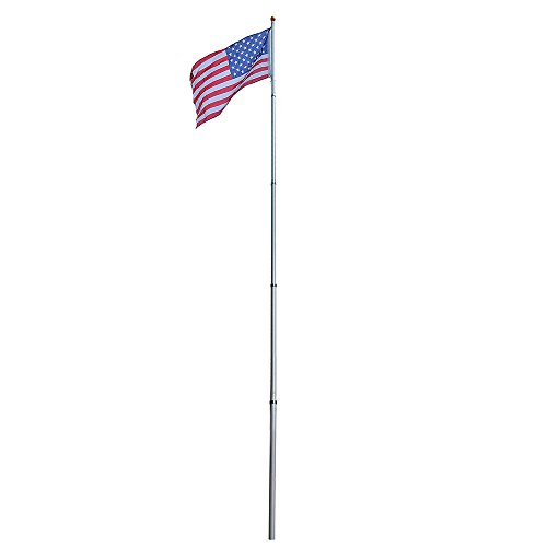 Fly 2 US Flags 25ft Aluminum Telescoping American Flagpole w/o Ropes & - Sunglasses Capo