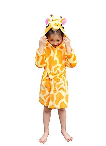 Kids Bathrobe Giraffe Flannel Ultra Soft Plush Comfy Hooded Nightgown Homewear(7-9)