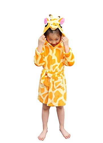 Kids Bathrobe Giraffe Flannel Ultra Soft Plush Comfy Hooded Nightgown - Little Robe Giraffe