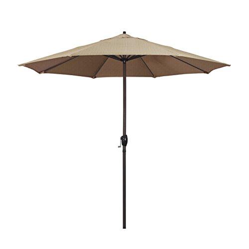 California Umbrella 9' Round Aluminum Market Umbrella, Crank Lift, Auto Tilt, Bronze Pole, Terrace Sequoia Olefin