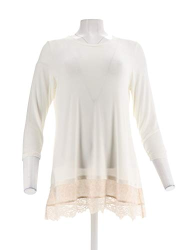 Logo Lori Goldstein 3/4 SLV Knit Top Woven Lace Trim Ivory M New A301961 from LOGO by LORI GOLDSTEIN