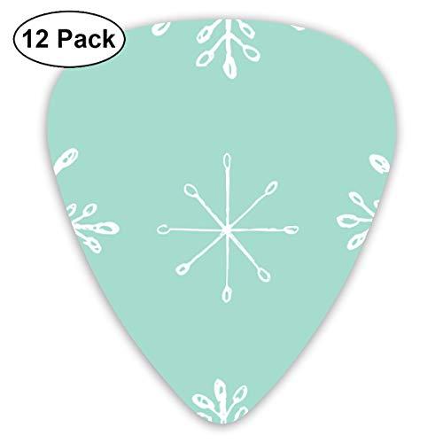 Snowflake Sketches On Aqua Small Medium Large 0.46 0.73 0.96mm Mini Flex Assortment Plastic Top Classic Rock Electric Acoustic Guitar Pick Accessories Variety Pack