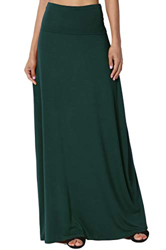 TheMogan Women's Casual Solid Draped Jersey Relaxed Long Maxi Skirt Hunter Green M