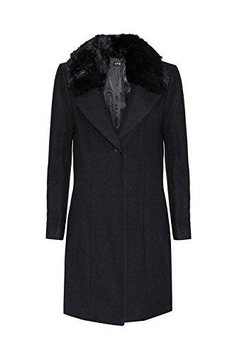 b7f41c1c8dbb09 Oltre: Cappotto Donna in Misto Lana con Collo in Pelliccia Sintetica Nero,  Taglia 52R: Amazon.it: Abbigliamento