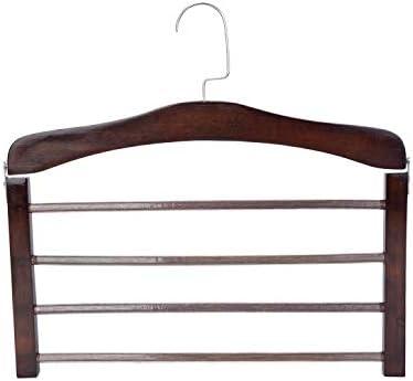 SunTrade 4層木製パンツラック パンツ/ジーンズ/スカーフ/衣類ハンガーオーガナイザー ブラウン