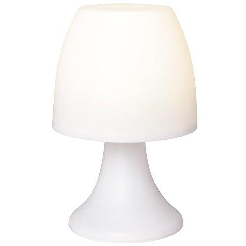 Lámpara LED con temporizador, color blanco, 19 cm de altura, funciona con pilas | lámpara de noche lámpara de mesa, para el dormitorio | camping ...
