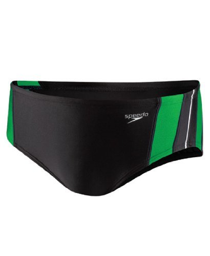Speedo 8051203 Mens Rapid Spliced Male Brief, Black/Green, 22