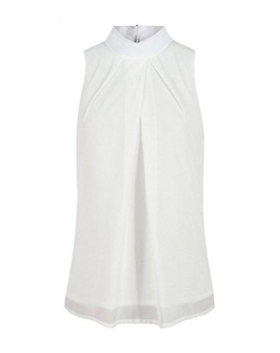 Bigood Top sans Manche Femme T-Shirt Chemise Blouse Mousseline de Soie Col Rond Chemisier Blanc