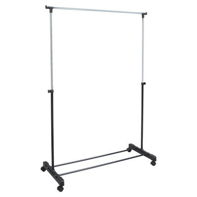 ROLLING adjustable GARMENT rack CLOTHES hanging (adjusts from 32' to 60' in height)