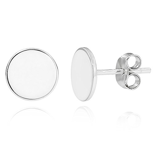 Round Monogrammed Earrings - ELBLUVF 925 Sterling Silver Dot Circle Round Stud Earrings