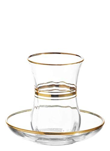 - LAV Elegant Turkish Tea Glasses and Saucers | With Gold Rim and Accents, 4 Ounce Cups with 4 Inch Plates, 12 Piece Set Includes 6 Glasses and 6 Saucers, Made in Turkey