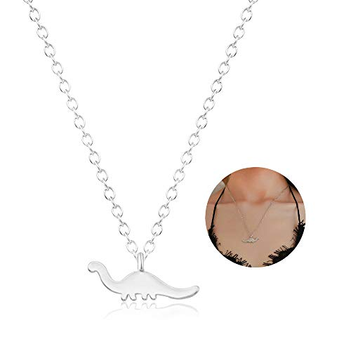 YOOE Cute Animal Dinosaur Pendant Necklace, Simple Gold Plated Silver Brontosaurus Necklace for Paleontologist Women Girl Jewelry (Silver) (Dinosaur Best Friend Necklaces)