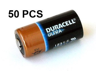 Duracell Ultra DL123A Lithium CR123A 3V Photo Lithium Batteries Bulk, Box of 50 pcs - NEW!