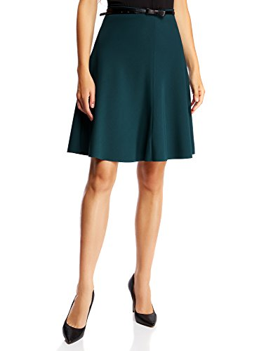oodji Ultra Mujer Falda Godet con Cinturón Verde (6E00N)
