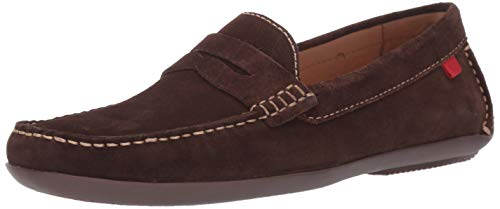 MARC JOSEPH NEW YORK Men's Leather Union Street Driver Driving Style Loafer Brown Suede/Natural Stitch 13 D(M) - Brown Loafers Suede