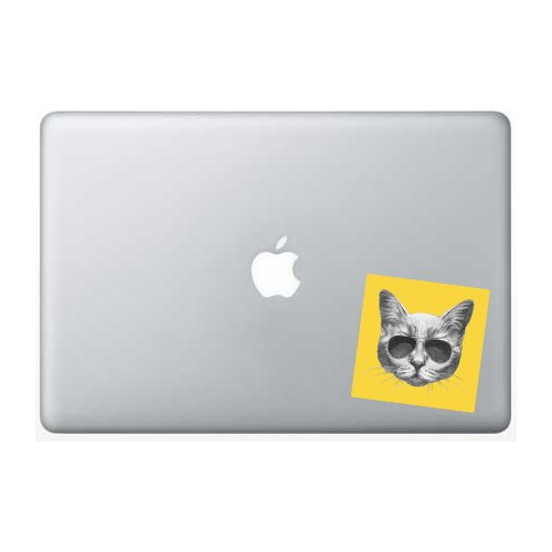 Cat Sunglasses Yellow Background - 5 Inch - Apple Macbook Laptop - Sunglasses Background