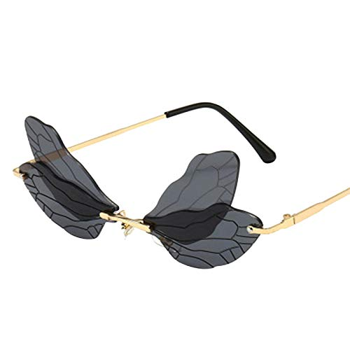 2020 Butterfly Dragonfly Wings Unique Rimless Sunglasses Women Fashion Metal Driving Glasses