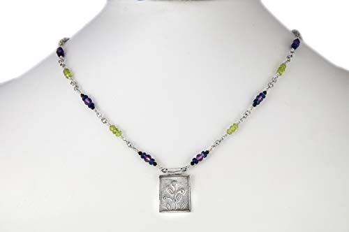 - Fine Silver Stamped Flower Pendant with Pink Amethyst Green Peridot Blue Iolite Black Spinel Beads and Sterling Chain Necklace 16
