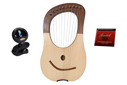 10 String Classic Ancient Greek Style Classical Lyre Harp + 10-String Lyre Harp Replacement Extra Strings - Steel & Nickel Wound + Snark Clip-On Chromatic Tuner For Guitar, Lute, Oud Dulcimer ()