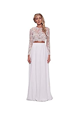NINI.LADY Women's Jewel Long Sleeves Two Piece Lace Applique Beach Wedding Dress