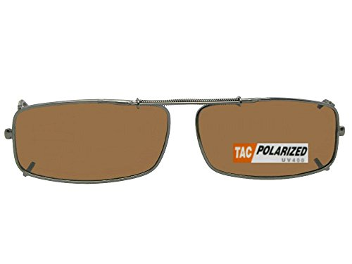 Extra Skinny Rectangle Shape Polarized Clip On Sunglasses (Pewter Frame-Polarized Brown Lens, 48mm Width x 24mm Height)