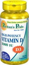 Puritains fierté Haute Puissance vitamine D (D-3) 1000IU 100 gélules 1 Bouteille