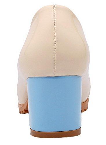 Allhqfashion Femmes En Cuir Verni À Bout Rond Toe Couleur Assortie Chaussures-chaussures Bleu