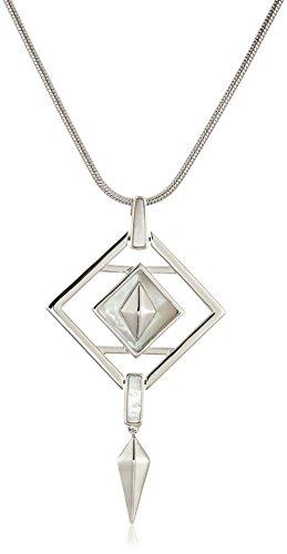 - Noir Jewelry Opaque Silver Pendant Necklace, 32.5