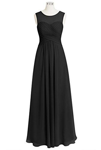 CuteShe Women's Long Chiffon A-line Bridesmaid Dresses Black US Size 18
