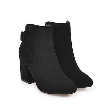 Demi Mode à Gros rond Pour DESY Hiver Bottes Femme Combat Nubuck Bout Cuir Chaussures de Talon la Botte Bottes Automne black Bottine boîtes q0fz60Hw