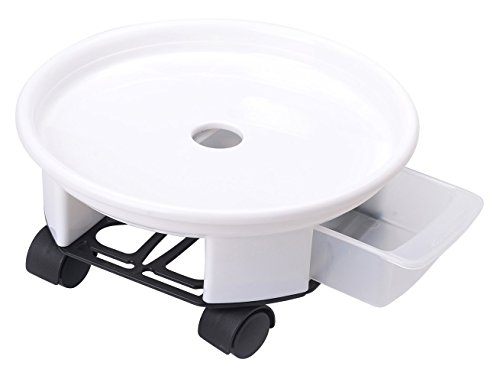 Antetok 10.6'' Plant Caddy Round Plant Dolly Trolley Saucer Moving Tray Pallet with Wheels and a Water Container White by Antetok
