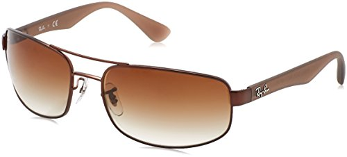 Ray-Ban Men's 0rb3445012/1361rb3445 Rectangular Sunglasses, Matte Brown, 61 - Rb 3445